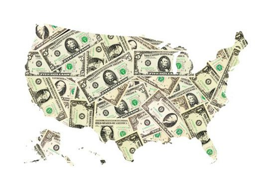 Illustration of United States map created in dollar bills